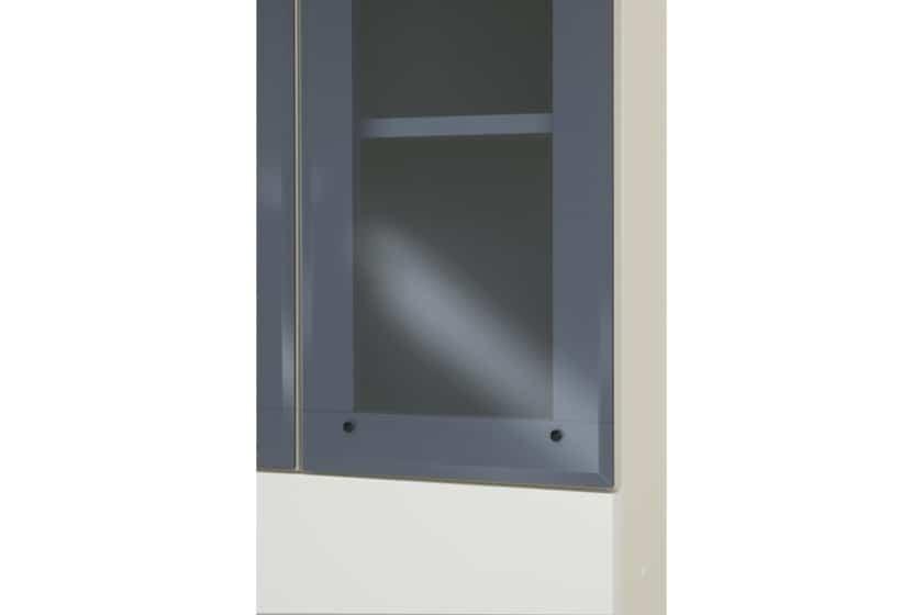 パモウナ 壁面収納 ガラス扉キャビネット【中段オープン】 CA−G801 W(パールホワイト))