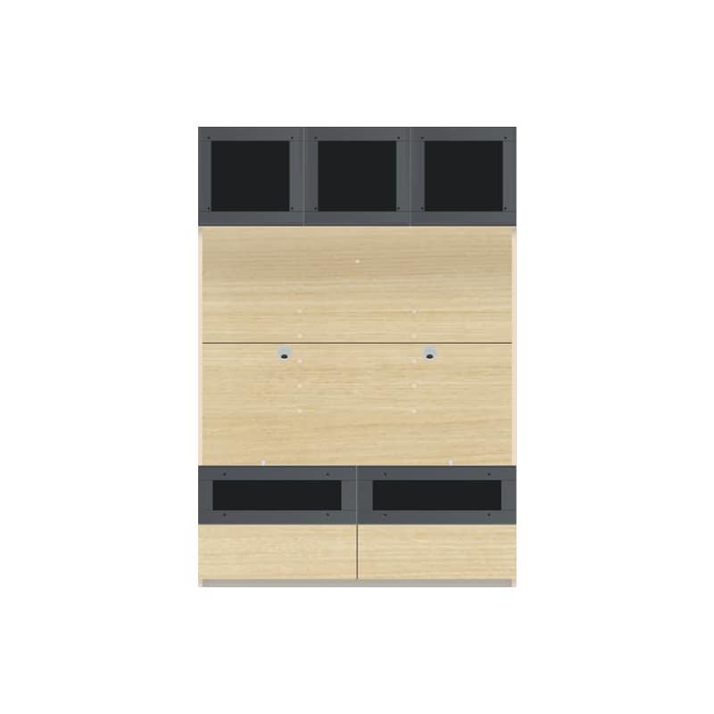 パモウナ 壁面収納 TVボード【上部ガラス扉】CA−G1200 O(ホワイトオーク):収納をまとめてすっきり