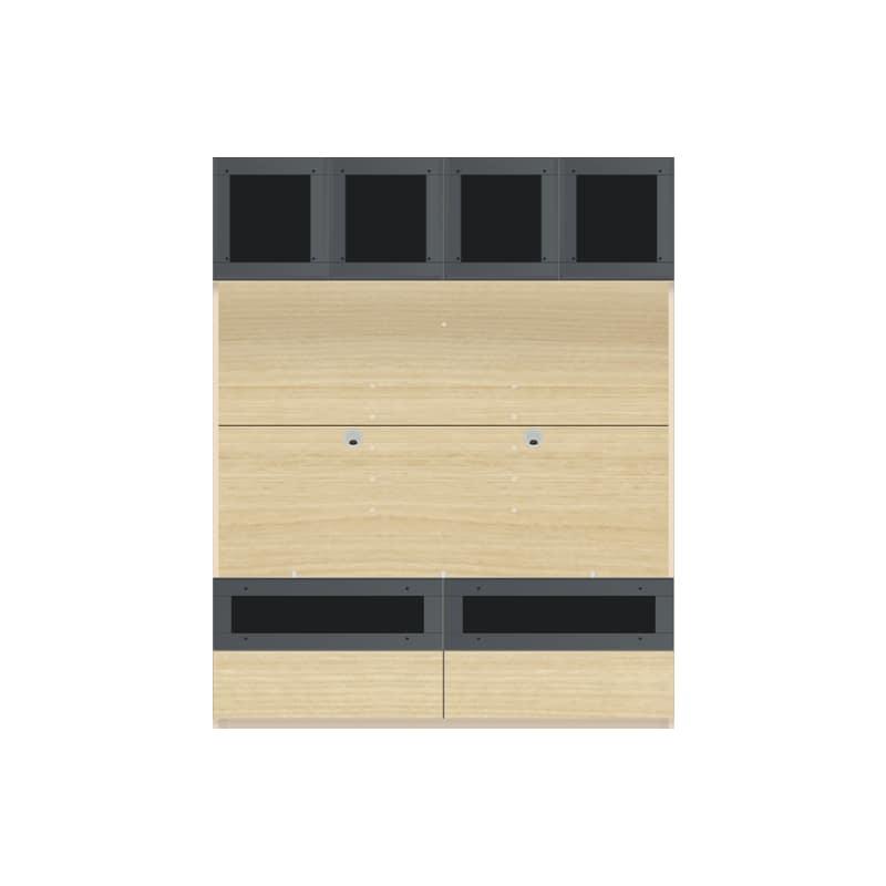 パモウナ 壁面収納 TVボード【上部ガラス扉】CA−G1400 O(ホワイトオーク):収納をまとめてすっきり