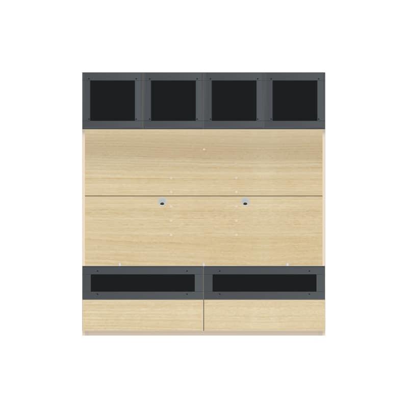 パモウナ 壁面収納 TVボード【上部ガラス扉】CA−G1600 O(ホワイトオーク):収納をまとめてすっきり