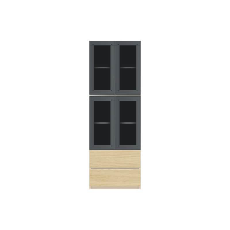 パモウナ 壁面収納 ガラス扉キャビネット CA−G600 O(ホワイトオーク):収納をまとめてすっきり