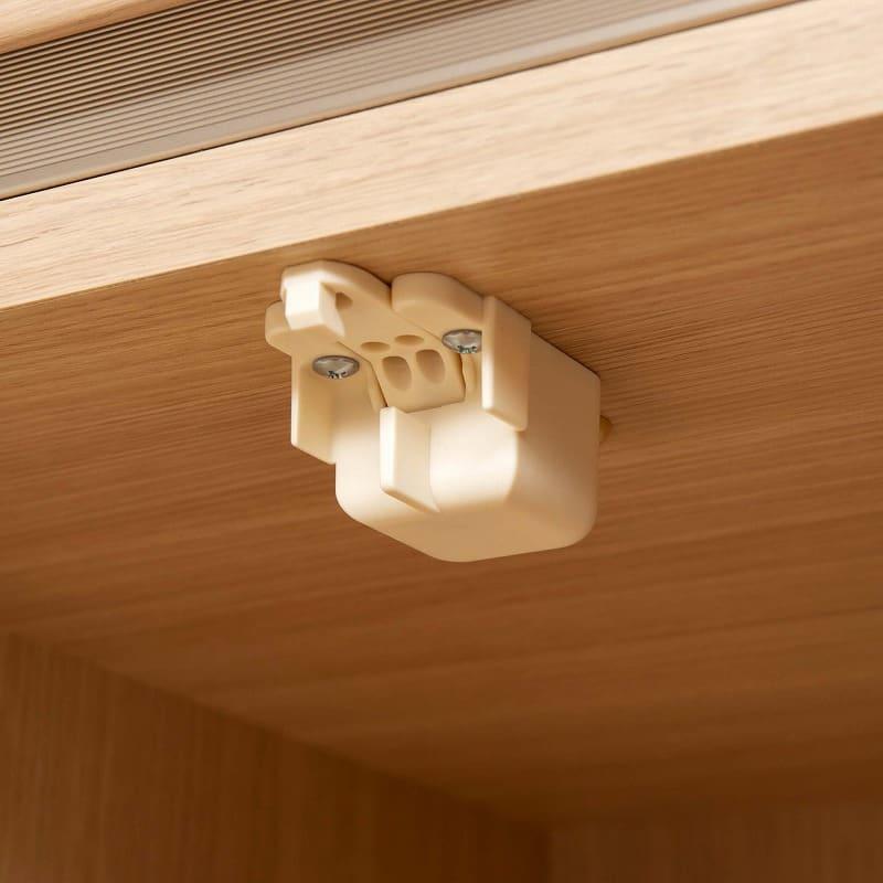 パモウナ 壁面収納 ガラス扉キャビネット CA−G800 O(ホワイトオーク):もしもの時にうれしい、耐震ラッチ機能