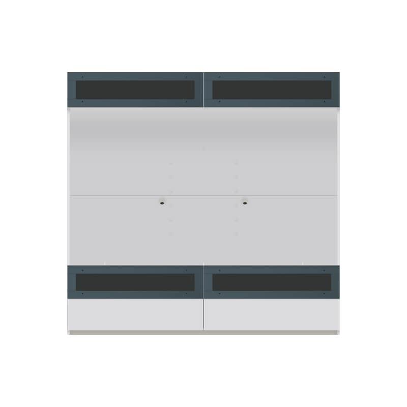 パモウナ 壁面収納 TVボード【上部フラップガラス扉】CA−G1803 W(パールホワイト):収納をまとめてすっきり