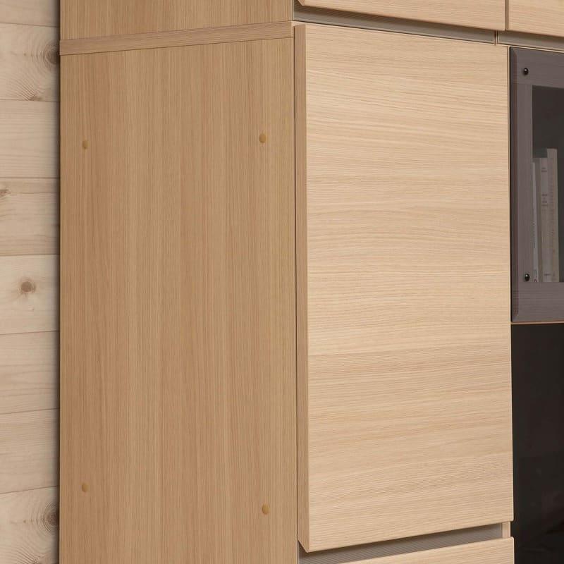 パモウナ 壁面収納 TVボード【上部フラップガラス扉】CA−G1803 O(ホワイトオーク):側面から見てもきれい