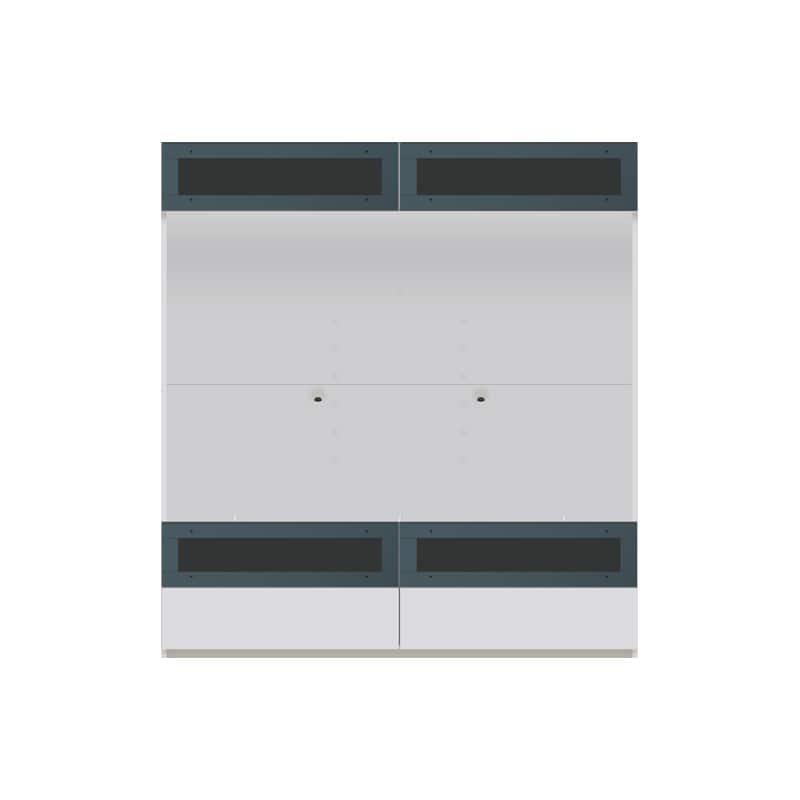 パモウナ 壁面収納 TVボード【上部フラップガラス扉】CA−G1603 W(パールホワイト):収納をまとめてすっきり