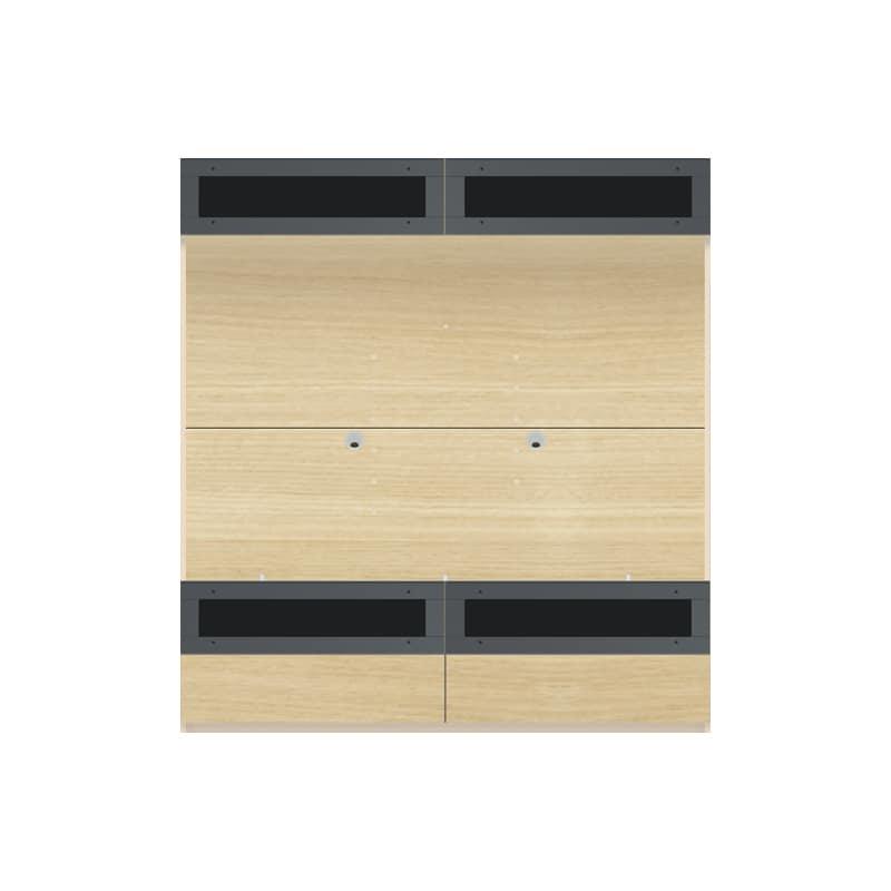 パモウナ 壁面収納 TVボード【上部フラップガラス扉】CA−G1603 O(ホワイトオーク):収納をまとめてすっきり