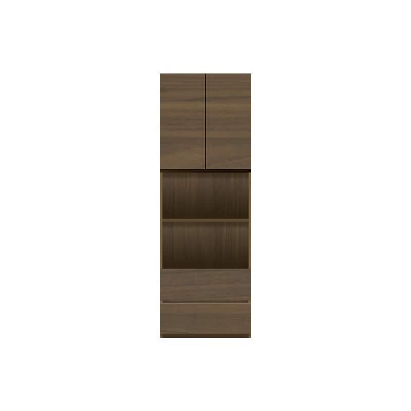 パモウナ 壁面収納 キャビネット【中段オープン】CA−601 N(ウォールナット):収納をまとめてすっきり