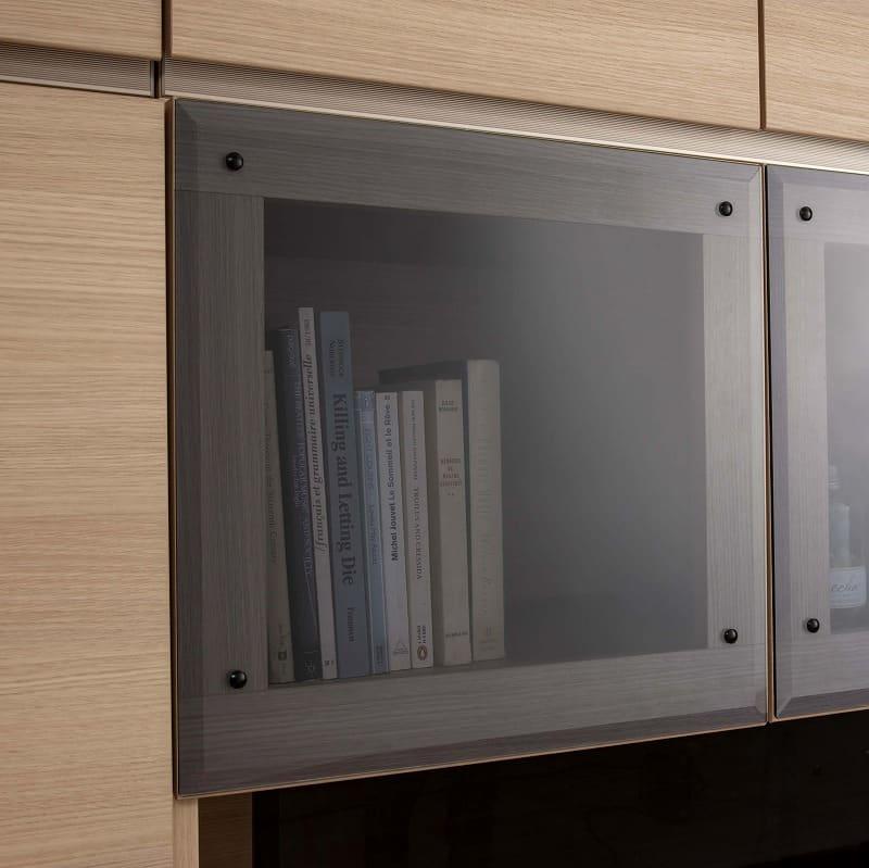 パモウナ 壁面収納 PCキャビネット CA−600D N(ウォールナット):ガラス扉がおしゃれなアクセント