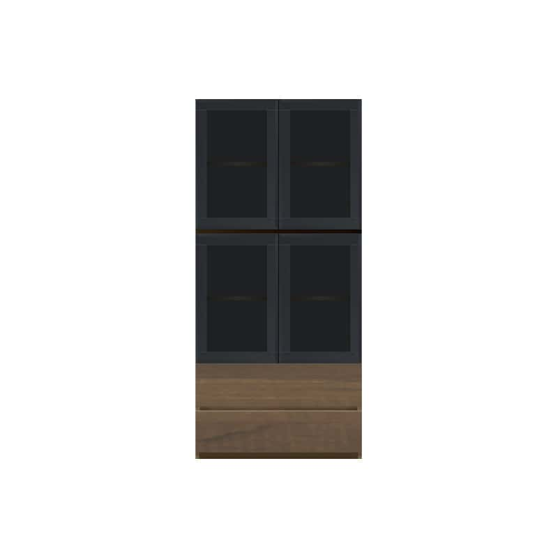 パモウナ 壁面収納 ガラス扉キャビネット CA−G800 N(ウォールナット):収納をまとめてすっきり