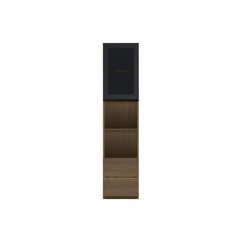 パモウナ 壁面収納 ガラス扉キャビネット左開き【中段オープン】 CA−G401R N(ウォールナット):収納をまとめてすっきり