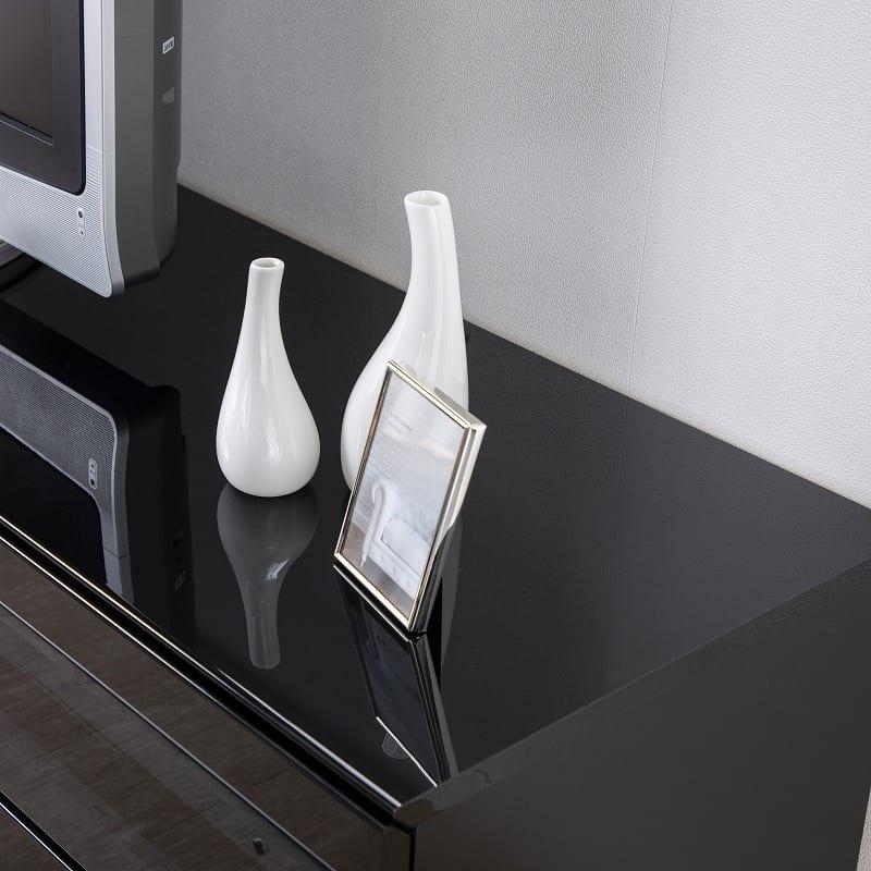 パモウナ テレビボード BW-140 W (パールホワイト):美しい鏡面仕上げ