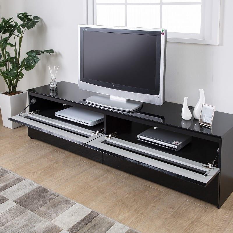 パモウナ テレビボード BW−200 Bミッドブラック:広々家電収納