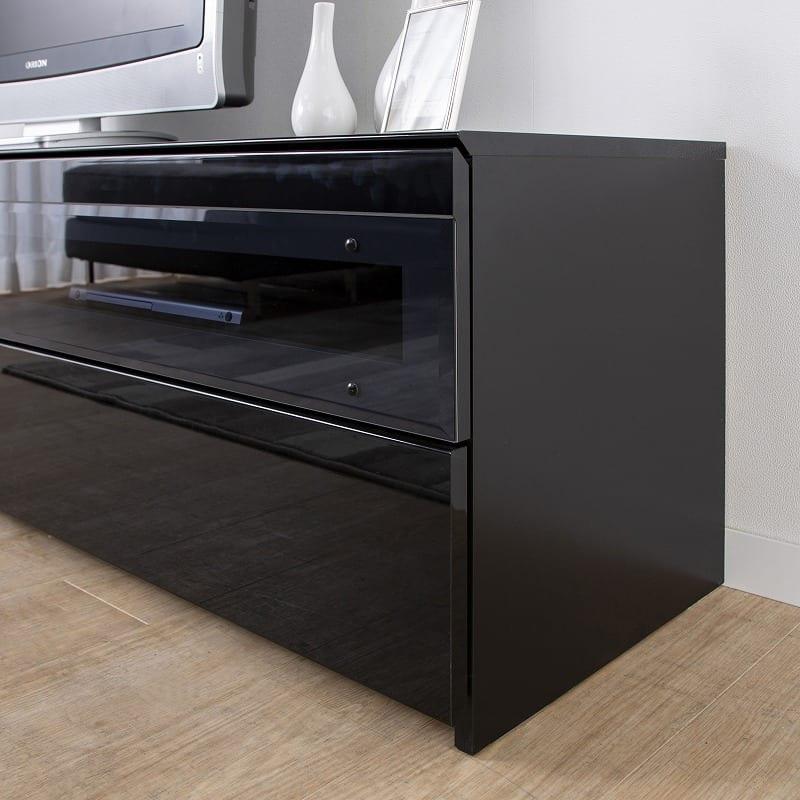 パモウナ テレビボード BW−200 Bミッドブラック:雰囲気を崩さないスモークガラス