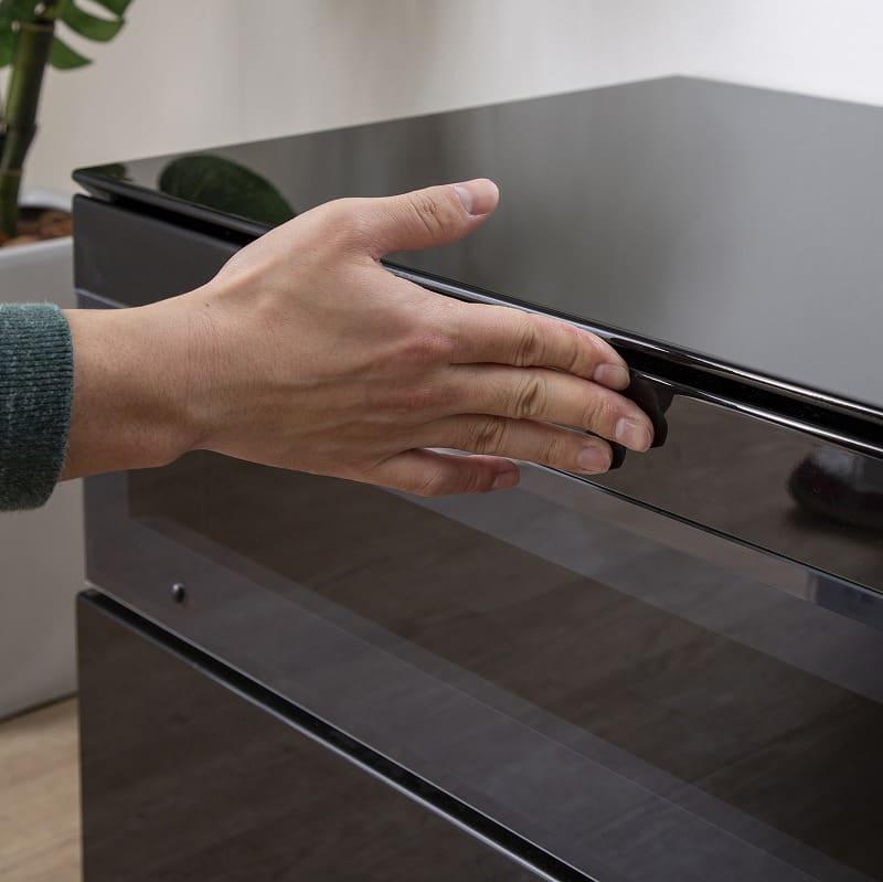 パモウナ テレビボード BW−200 Bミッドブラック:開け閉め簡単