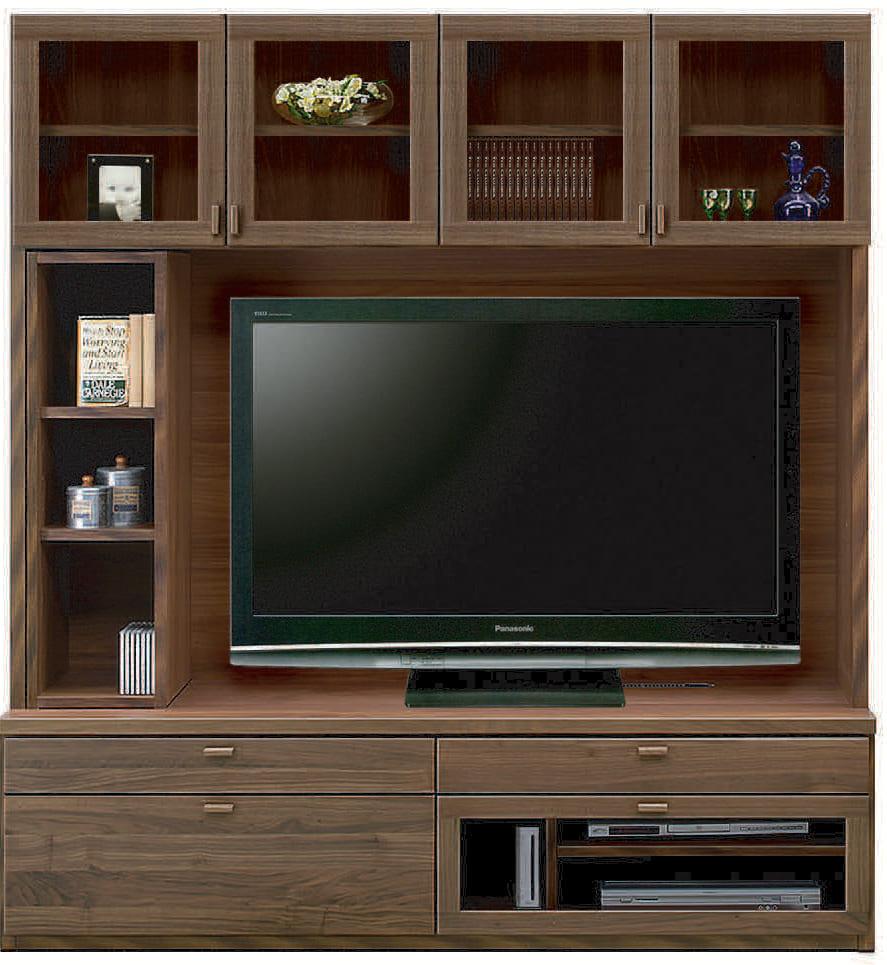 壁面TVボード「ムゼオ」168【TVボード】Aガラス戸 ウォールナット:壁面TVボード「ムゼオ」168【TVボード】Aガラス戸