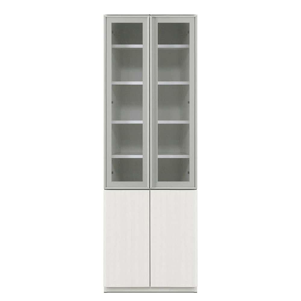 壁面収納 シマウ 幅60cm上下台セット【上台】AL(ガラス)戸/【下台】板戸 ウッドホワイト:壁面収納 シマウ 60cm上下台セット