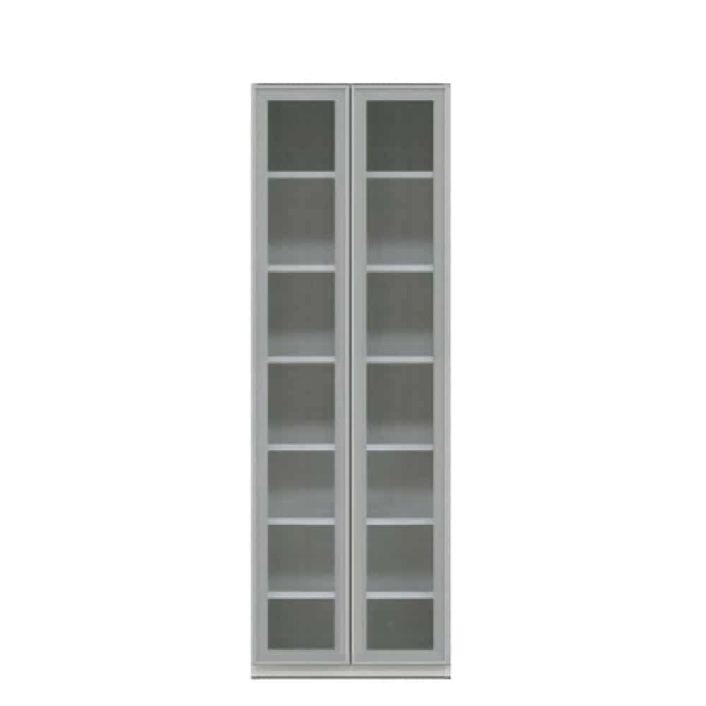壁面収納 シマウ 幅60cm キャビネット AL(ガラス)戸CB ウッドホワイト:壁面収納 シマウ 60cm キャビネット AL(ガラス)戸CB