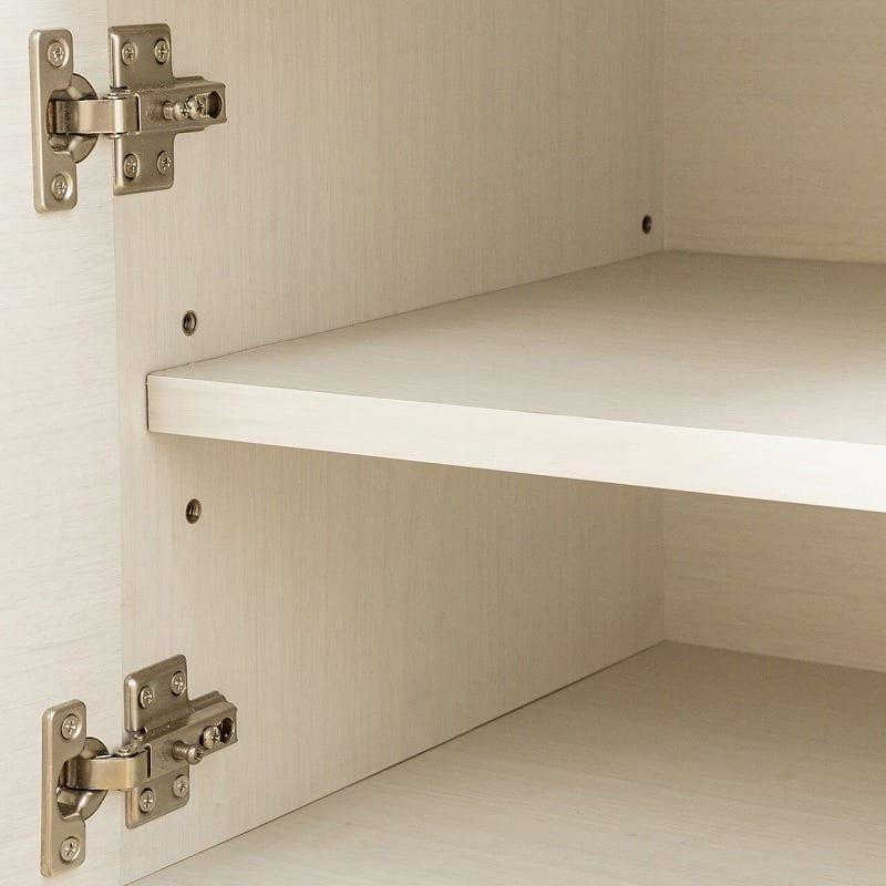 ローボード シャイン120−TVB WH木目:棚板高さ調節可能