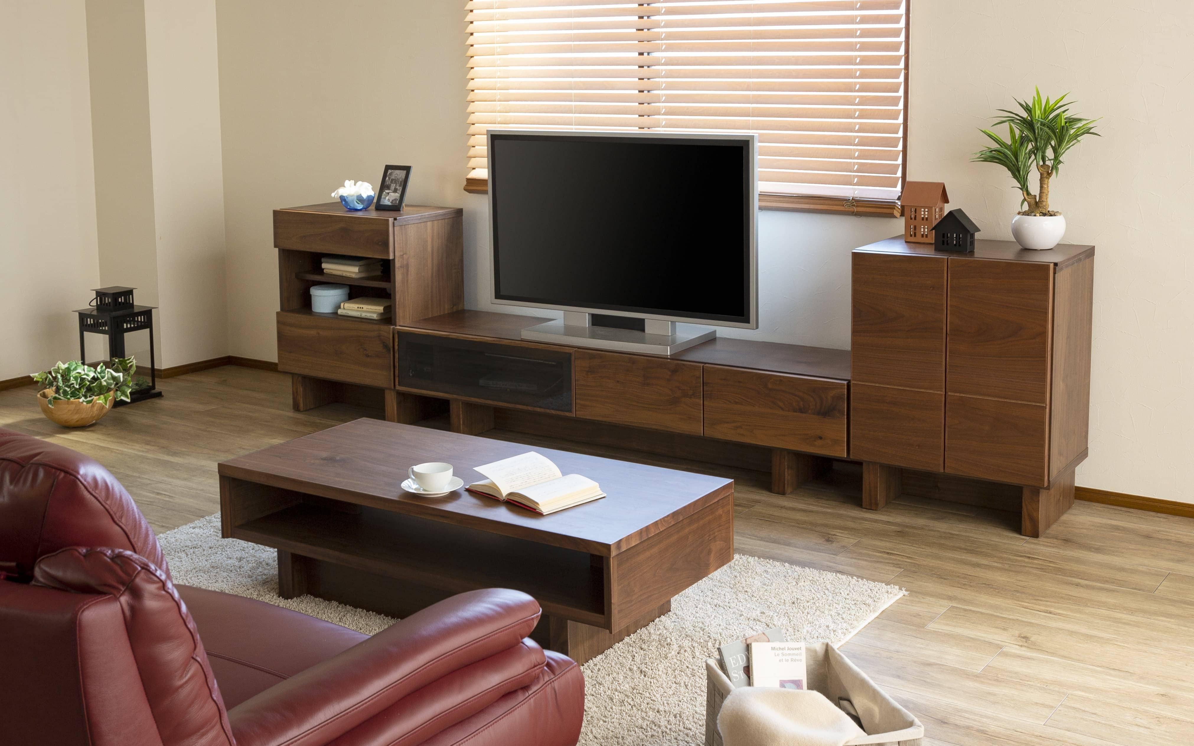 TVボード VENTO200TV WN:高級材のウォールナットを贅沢に使用した、リビングボードシリーズ