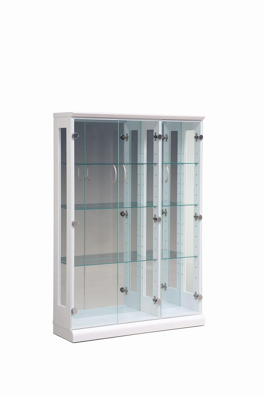 【ネット限定】コレクションボード スキニー 90 WH:幅90cm 3枚扉のキュリオケース