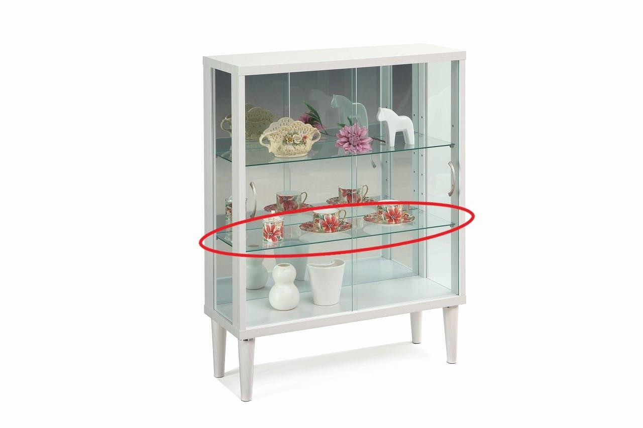 【ネット限定】ガラス棚板 シェイプ 75用追加ガラス棚板:コレクションボード