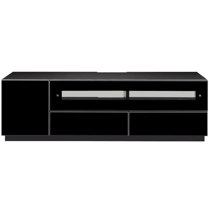 【ネット限定】ローボード チェス 140BK:白黒2トーン鏡面・黒鏡面のTVボード