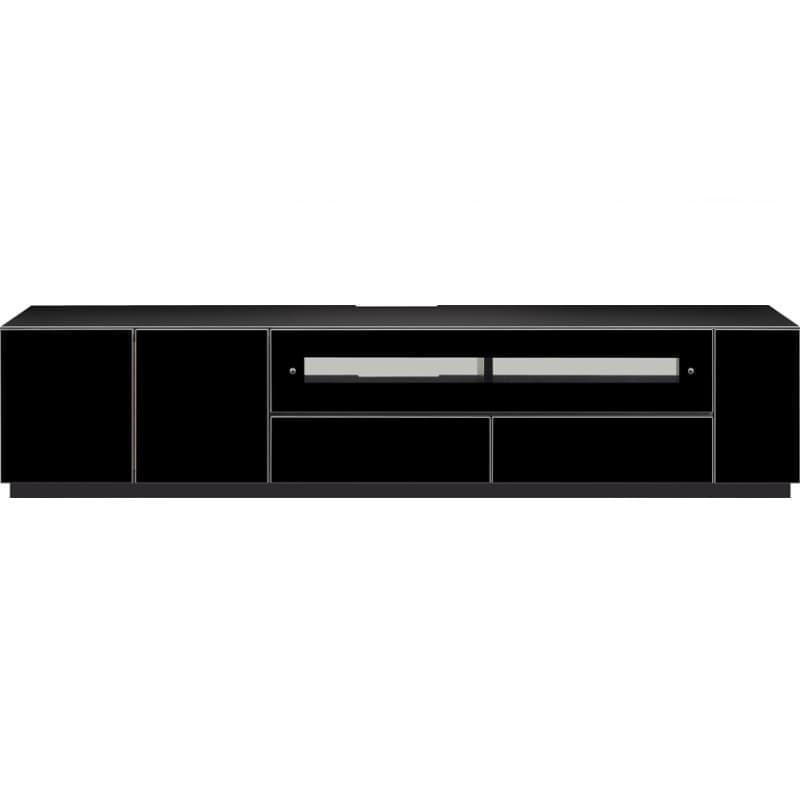 【ネット限定】ローボード チェス 180BK:白黒2トーン鏡面・黒鏡面のTVボード