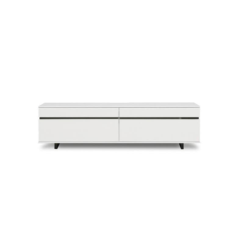 【ネット限定】テレビ台 ローボード ネオス150 WH:《艶のあるホワイト色にブラックラインが美しいテレビボード》