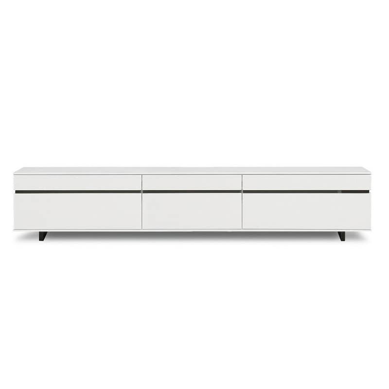 【ネット限定】テレビ台 ローボード ネオス210 WH:《艶のあるホワイト色にブラックラインが美しいテレビボード》