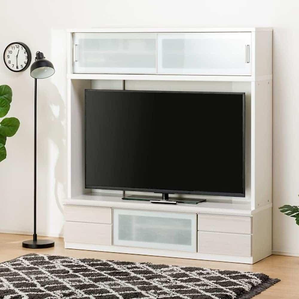 【ニトリ】 TVボード ポスティアN 160 WH セット ホワイト:光沢のある木目も湯が美しいテレビボード