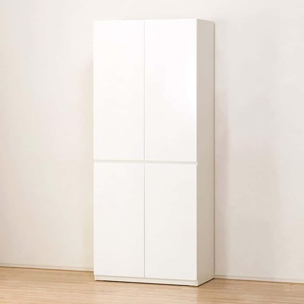 【ニトリ】 キャビネット ポルテ 80DD WH ホワイト:壁面を有効活用できる縦長のキャビネット