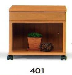 ナイトテーブル N型 401 NAナチュラル:◆キャスター付で移動も楽にできます