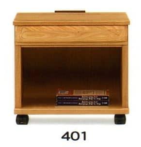 ナイトテーブル E型 401 NAナチュラル:◆キャスター付で移動も楽にできます
