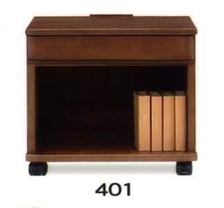 ナイトテーブル E型 401 WNウォール:◆キャスター付で移動も楽にできます
