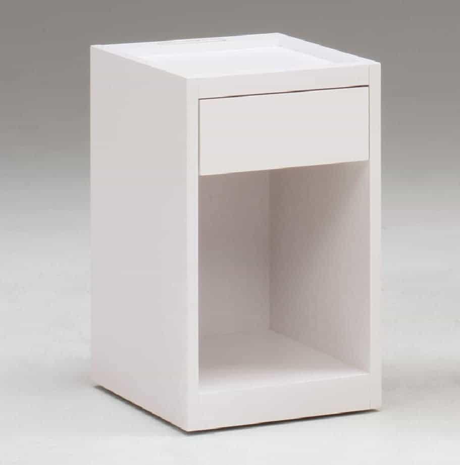 ナイトテーブル NT497 WHホワイト:《シンプルデザインのナイトテーブル」》