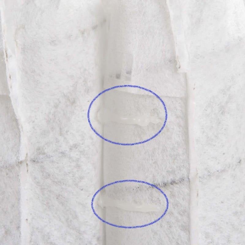 シモンズ セミダブルマットレス 4インチプレミアム (AB14S05ブルー):コイルの動きをサポートする接着