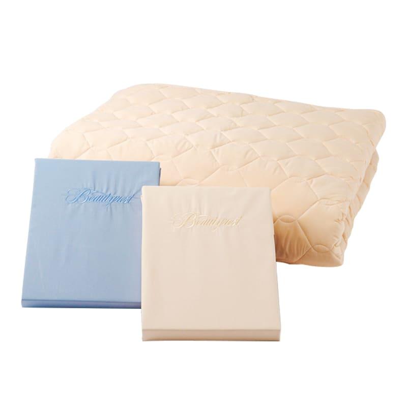 シモンズ【寝装品3点セット】キング ベーシック34.5cm厚 LA1003 ブルー/アイボリー:※ベッドパッド1枚、ボックスシーツ2枚の3点パックです。