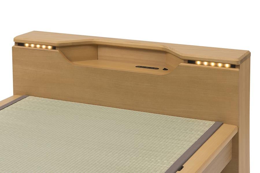 シングル畳ベッド スミカ キャビネット ブラウン