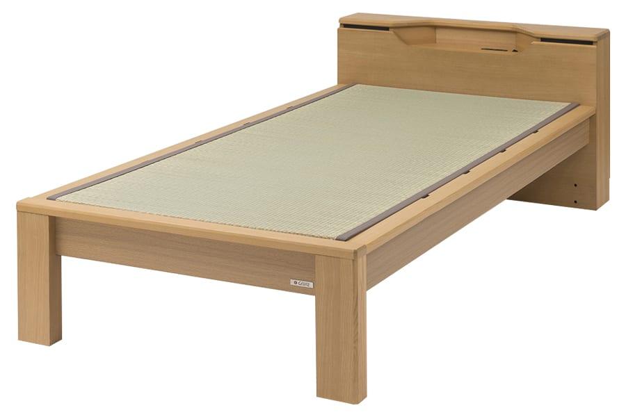 セミダブル畳ベッド スミカ キャビネット ナチュラル:立ち上がりもしやすい畳ベット『スミカ』※画像はシングルサイズです。