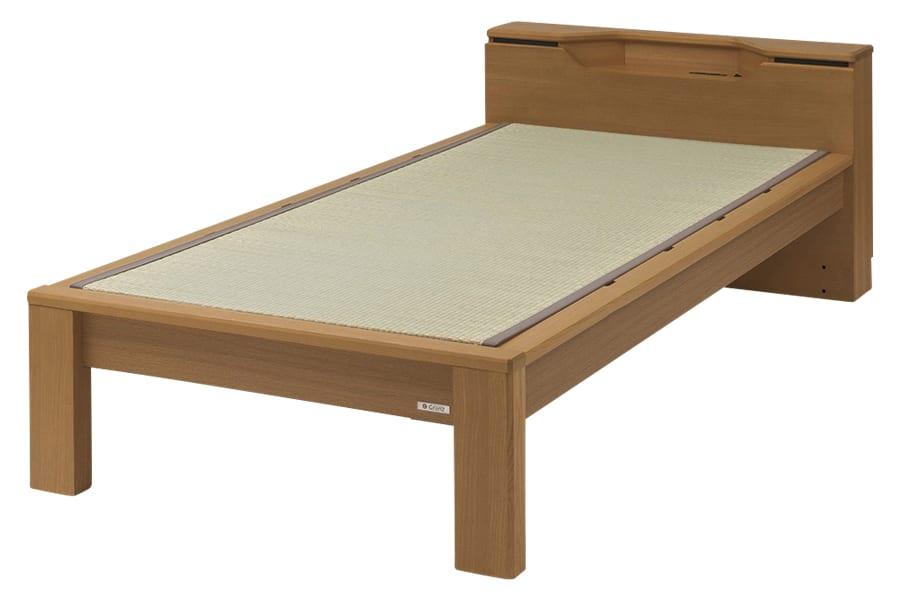 セミダブル畳ベッド スミカ キャビネット ブラウン:立ち上がりもしやすい畳ベット『スミカ』※画像はシングルサイズです。