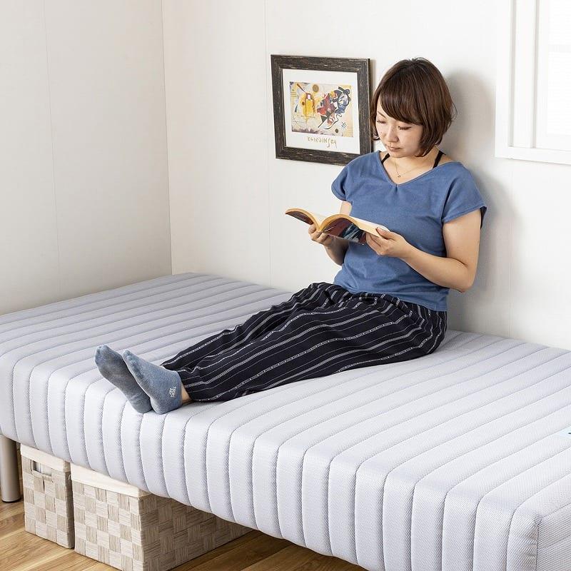 フランスベッド セミダブルベッド ミハシー 脚高250mm(ブルー):ソファー代わりでも