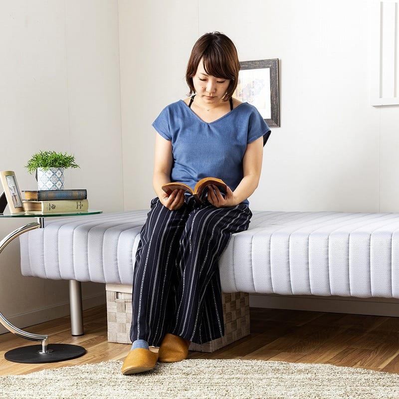 フランスベッド セミダブルベッド ミハシー 脚高250mm(ブラック):立ち座り簡単♪