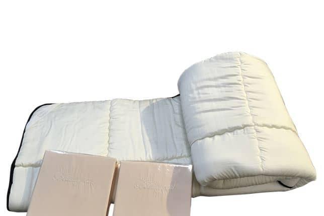 【寝装品3点セット】35厚 ラグジュアリーコンポブラック LL1450 ダブル(アイボリー/アイボリー):※ベッドパッド1枚、ボックスシーツ2枚の3点パックです。