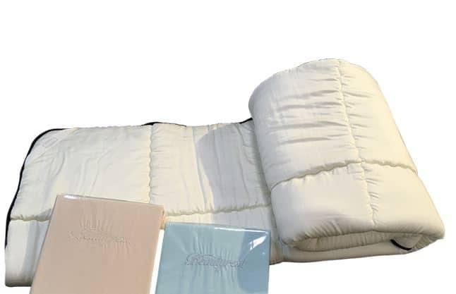 【寝装品3点セット】35厚 ラグジュアリーコンポブラック LL1450 クイーン(アイボリー/ブルー):※ベッドパッド1枚、ボックスシーツ2枚の3点パックです。