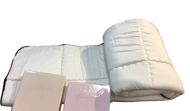 【寝装品3点セット】35厚 ラグジュアリーコンポブラック LL1450 シングル(アイボリー/ピンク):※ベッドパッド1枚、ボックスシーツ2枚の3点パックです。