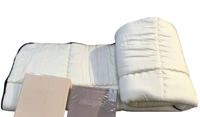 【寝装品3点セット】35厚 ラグジュアリーコンポブラック LL1450 セミダブル(アイボリー/ブラウン):※ベッドパッド1枚、ボックスシーツ2枚の3点パックです。