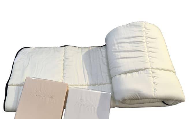 【寝装品3点セット】35厚 ラグジュアリーコンポブラック LL1450 セミダブル(アイボリー/ホワイト):※ベッドパッド1枚、ボックスシーツ2枚の3点パックです。