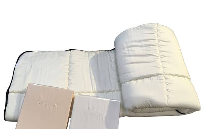 【寝装品3点セット】35厚 ラグジュアリーコンポブラック LL1450 ダブル(アイボリー/ホワイト):※ベッドパッド1枚、ボックスシーツ2枚の3点パックです。