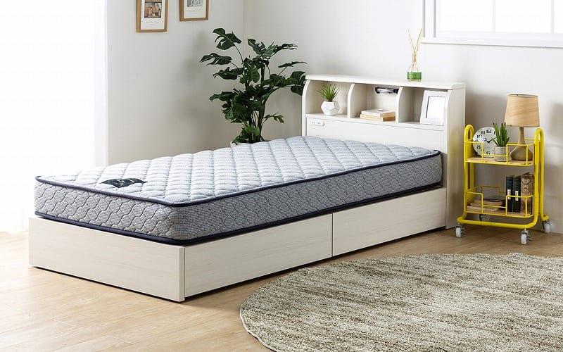 シングルベッド コスモプラス(白木目)/シルバー800DX3(BL):安心の国産ベッド