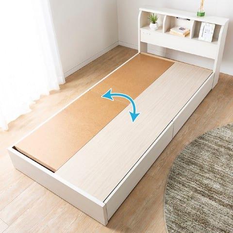 シングルベッド コスモプラス(ペールアンバー)/シルバー800DX3(BL):引出しとフラット収納は入れ替えできます